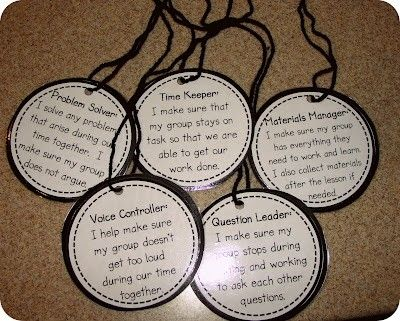 Cooperative Learning: student role necklaces -- another way to remind students of their roles