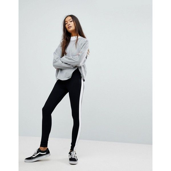 ASOS Legging with Side Stripe (€19) ❤ liked on Polyvore featuring pants, leggings, black, high waisted shiny leggings, high-waisted leggings, high waisted wet look leggings, high waisted trousers and high-waist trousers
