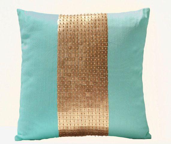 Traditionalglamour.blogspot.com perfect bit of glam  Teal Pillows -Teal gold color block pillows in silk -Sequin pillows -16X16