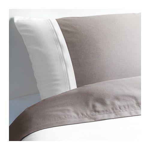 IKEA - FÄRGLAV, Bettwäscheset, 2-teilig, 140x200/80x80 cm, , Die Mischung aus Baumwolle und Lyocell nimmt Feuchtigkeit auf und lässt sie verdunsten - der Körper bleibt trocken.Der Reißverschluss hindert die Decke am Herausrutschen.