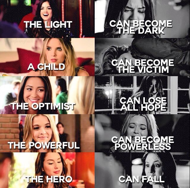 Aria & Hanna & Emily & Alison & Spencer. PLL quote.