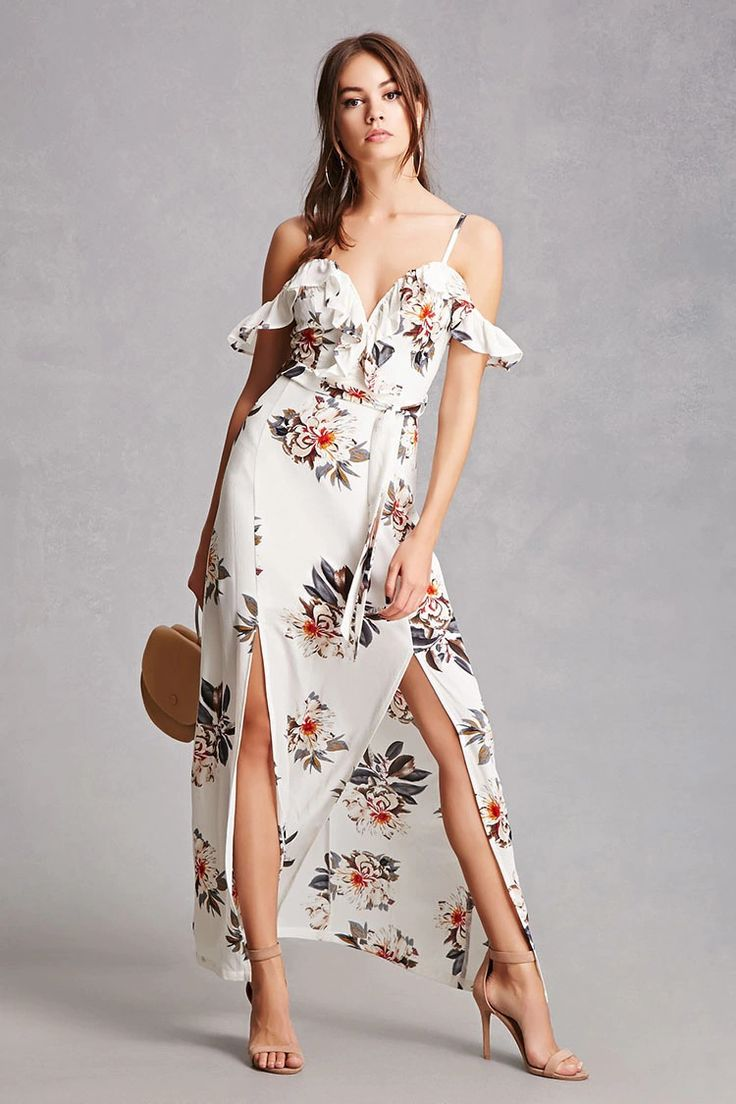 A crepe woven maxi dress featuring an allover floral print, a V-wire sweetheart neckline, a flounce layer that falls into an open shoulder design with short sleeves, adjustable cami straps, an M-slit, a sash belt at the waist, and a hidden back zipper.<p>- This is an independent brand and not a Forever 21 branded item.</p>
