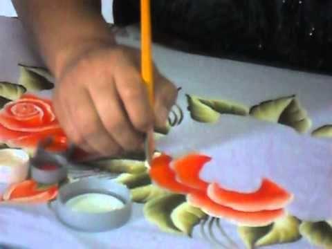 Mulher.com 25/04/2013 Ana Laura Rodrigues - Pintura em tecido rosas Parte 1 - YouTube