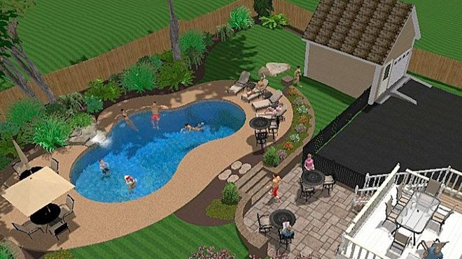 Pool and patio decorating ideas on a budget inground for Gunite pool design ideas