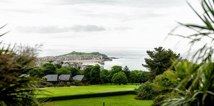 The view from a Tregenna Castle wedding looking out over the St Ives bay