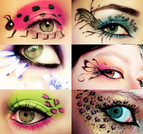Creative eye makeup - ladybugs, flowers, butterfly, animal print