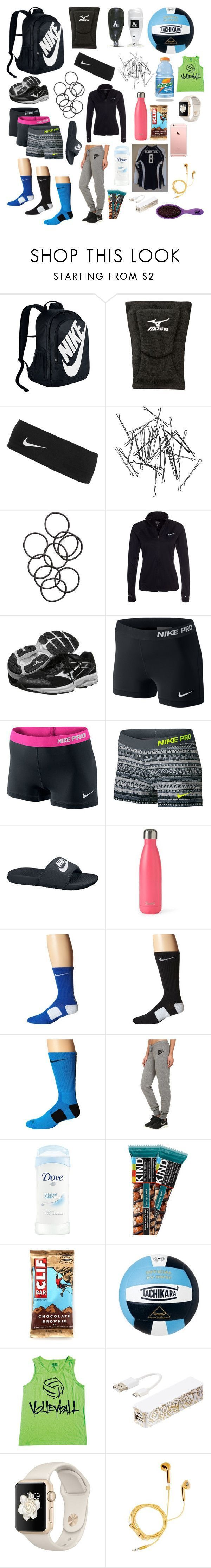 """What's in my volleyball bag"" by southernannabelle on Polyvore featuring NIKE, Mizuno, Monki, H&M, S'well, Triple C Designs, PhunkeeTree and The Wet Brush #basketballclothes"