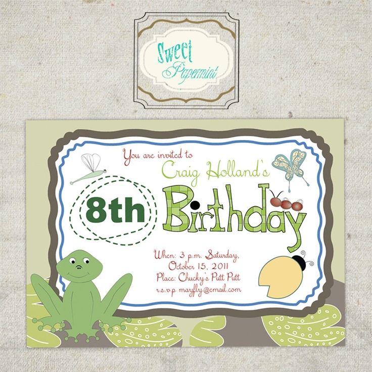 Insects Frog Bug Digital Card Birthday Invitation   -  Customizable. $10.00, via Etsy.