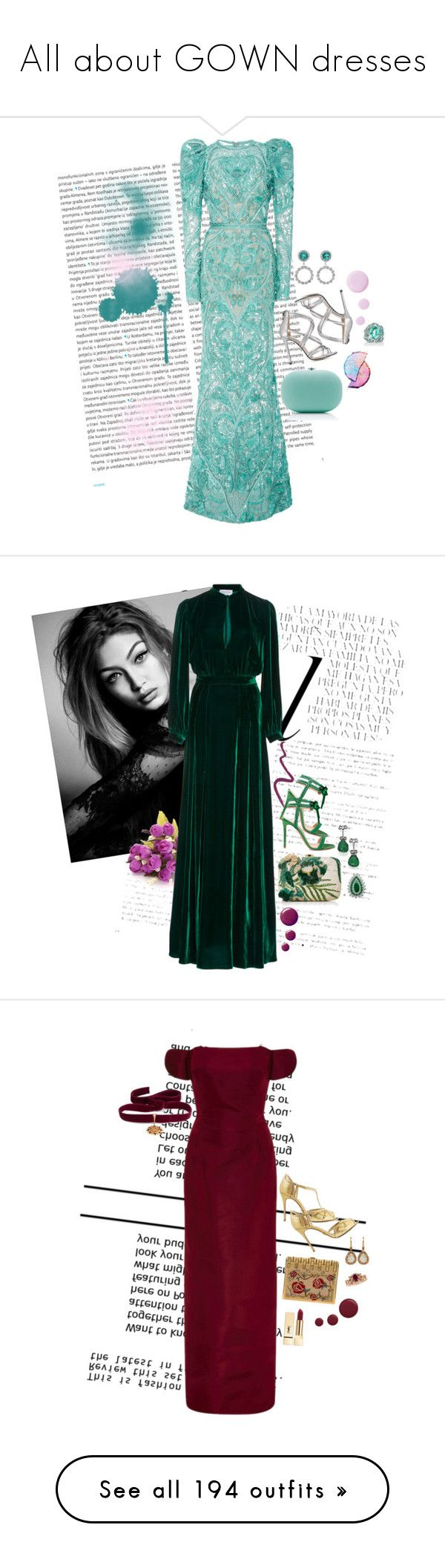 """All about GOWN dresses"" by saltless ❤ liked on Polyvore featuring Oris, Elie Saab, Fabergé, Alessandra Rich, Marc Ellis, Jeffrey Levinson, Topshop, Whiteley, Raquel Diniz and Van Cleef & Arpels"