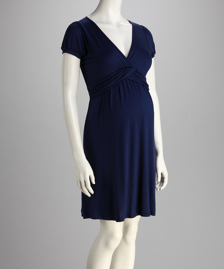 Navy Ruched Maternity Dress - Baby Shower outfit or for a wedding! - PURCHASED! On Zulily.com for $40 until 9/06