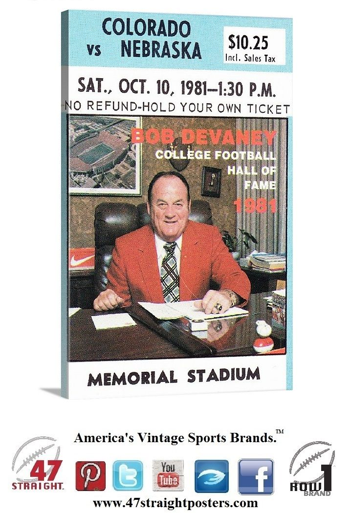 1981 #Colorado #Buffaloes vs. #Nebraska #Cornhuskers #collegefootball #ticket #art on canvas. Available soon. #sportsart #BobDevaney #Huskers #coaches #football Bob Devaney sitting in his office. Best college football coaches of all-time. Greatest college football coaches in history. Top 25 college football coaches. #47straight #row1brand #Big8 #CyberMonday #gifts #giftideas