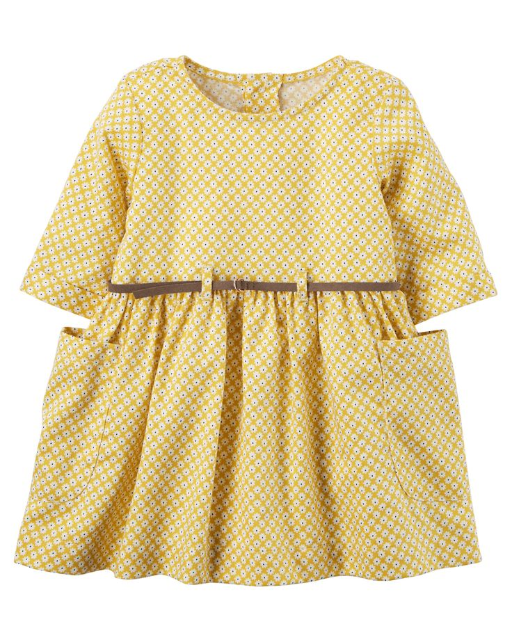 Baby Girl Belted Dress from Carters.com. Shop clothing & accessories from a trusted name in kids, toddlers, and baby clothes.
