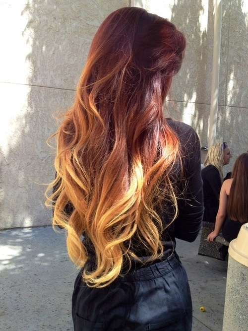 ombr233 red to blonde hair envy pinterest