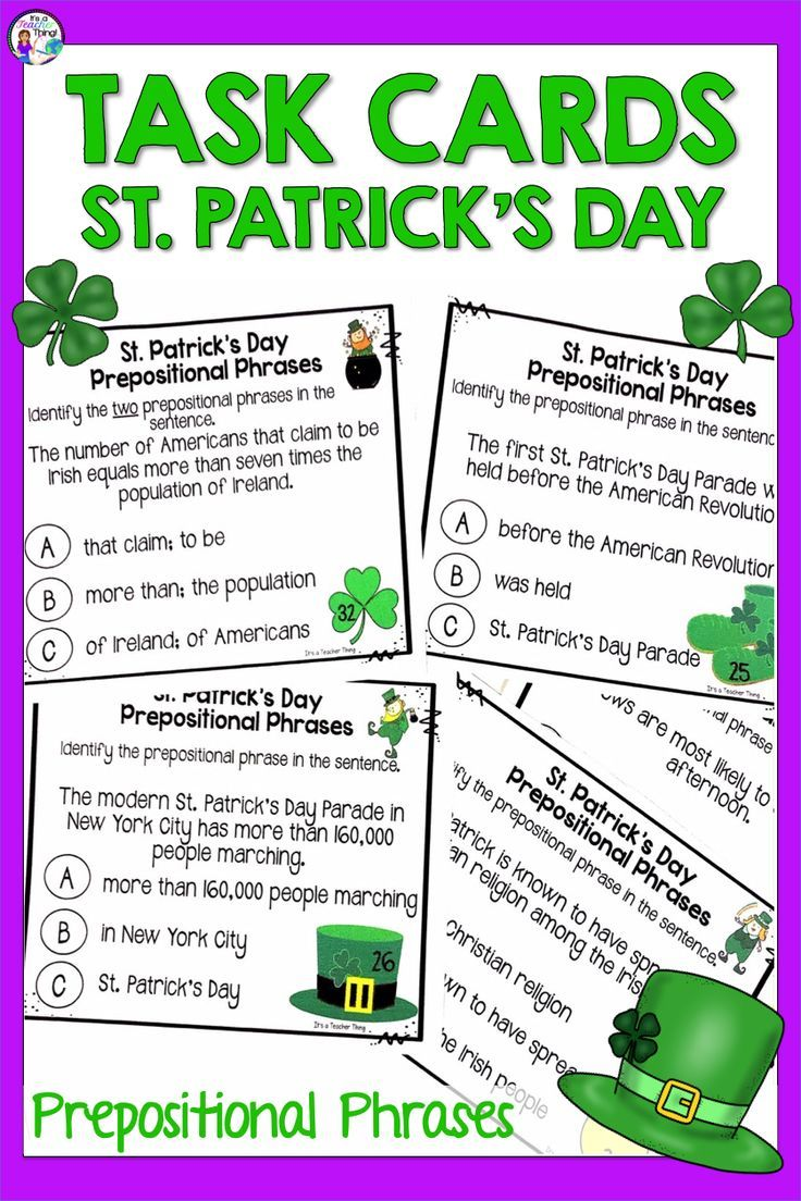 St Patrick S Day Activities With Prepositional Phrases Printable Task Cards In 2021 Prepositional Phrases Prepositional Phrases Activities Task Cards