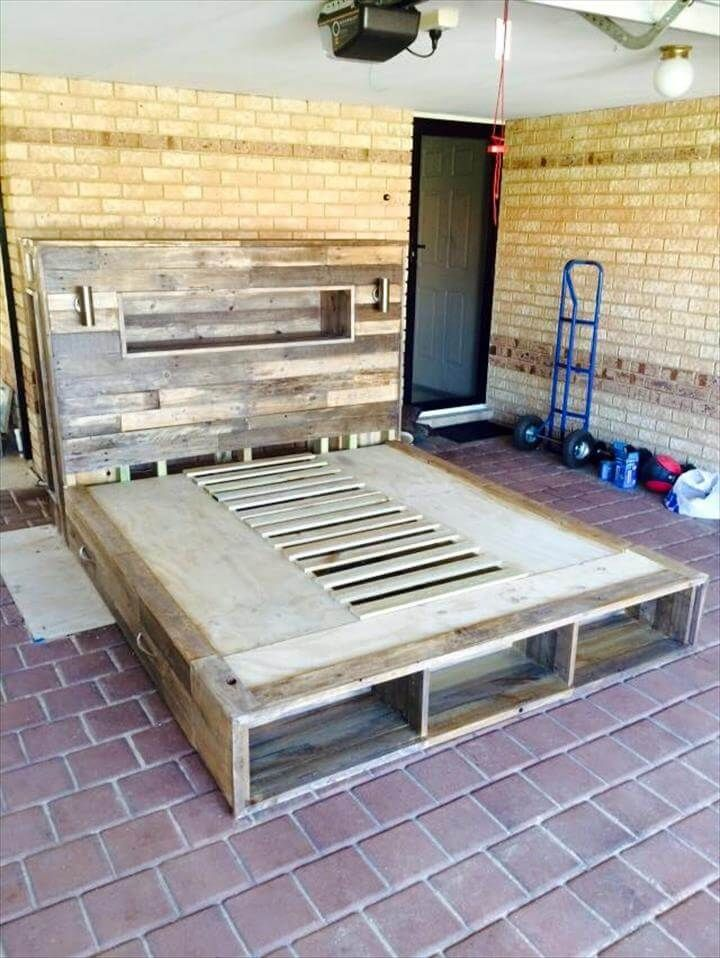 DIY Pallet Bed with Headboard, Lights, and Storage