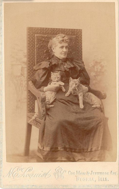 Vintage Cat Lady with Cats