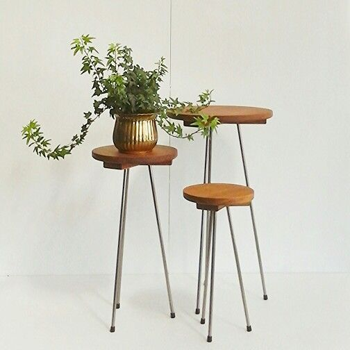Three little side tables in recycled rimu and steel