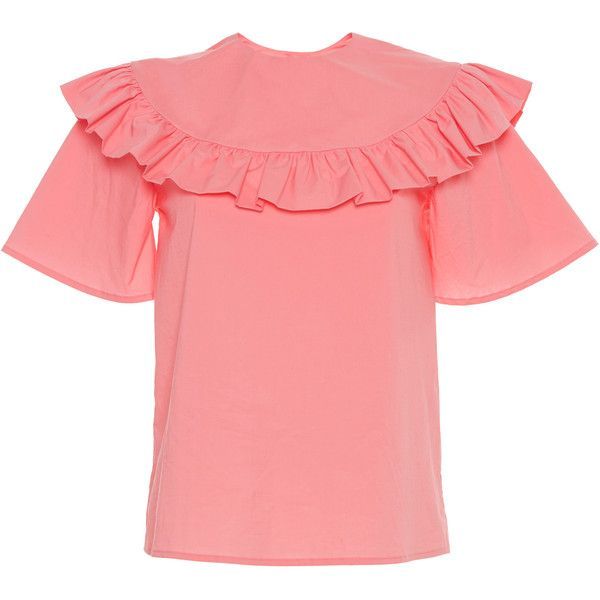 Vivetta Yantai Ruffle Short Sleeve Shirt (10 540 UAH) ❤ liked on Polyvore featuring tops, pink, red top, pink top, short-sleeve shirt, pink ruffle top and short sleeve shirts