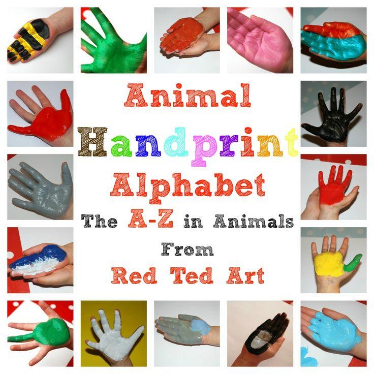 Charming complete handprint animal alphabet from http://www.RedTedArt.com