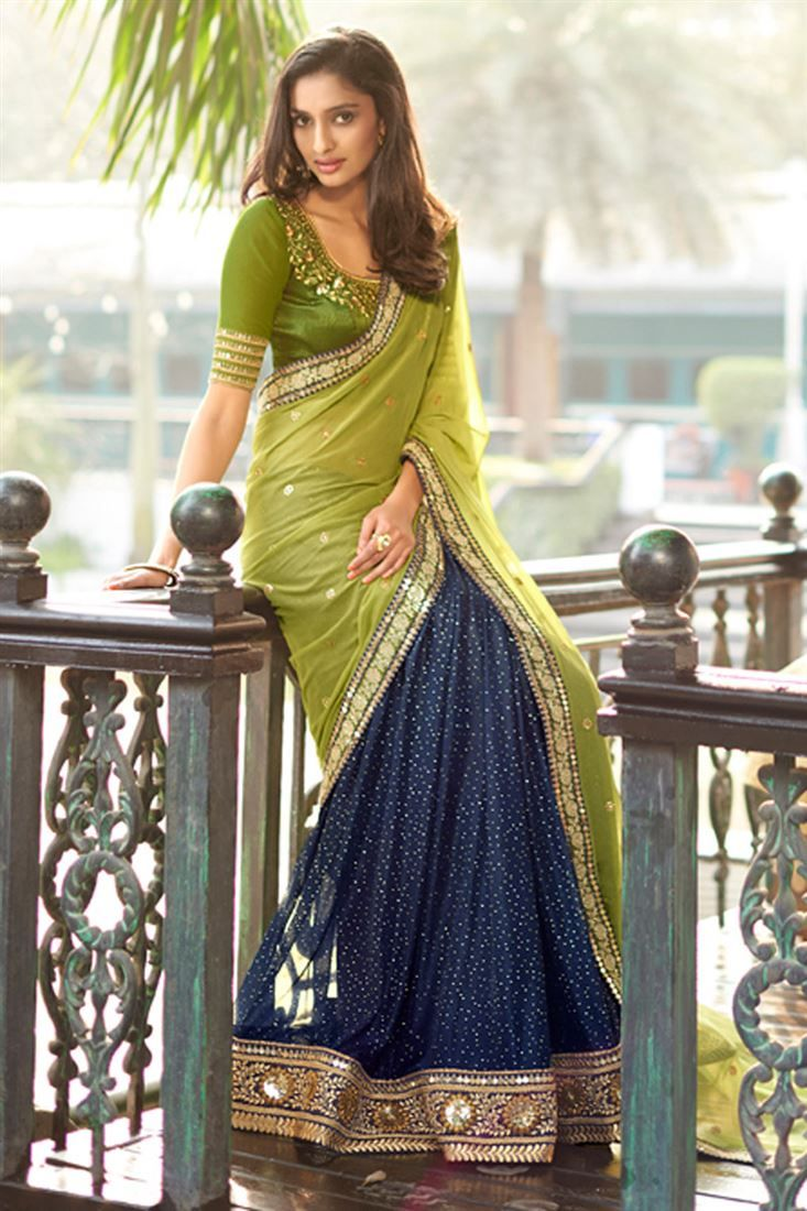 Green-Blue Georgette #Embroidered Designer #Saree $-64
