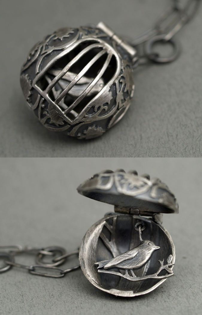 "Rebecca Fargher | ""Bird in a cage"" oxidized, sterling silver pendant."