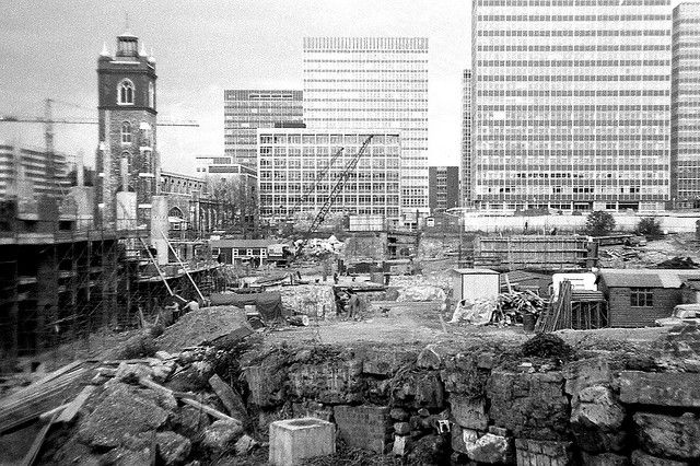 Here's one of the last blitzed areas in London to get redeveloped, the huge area of the Barbican.