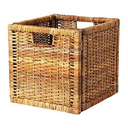 "BRANÄS Basket - rattan, 12 ½x13 ½x12 ½ "" - IKEA to go into shelving unit for living room toy storage"