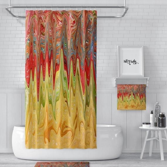 Red Yellow Modern Psychedelic Funky Shower Curtain Folk N Funky