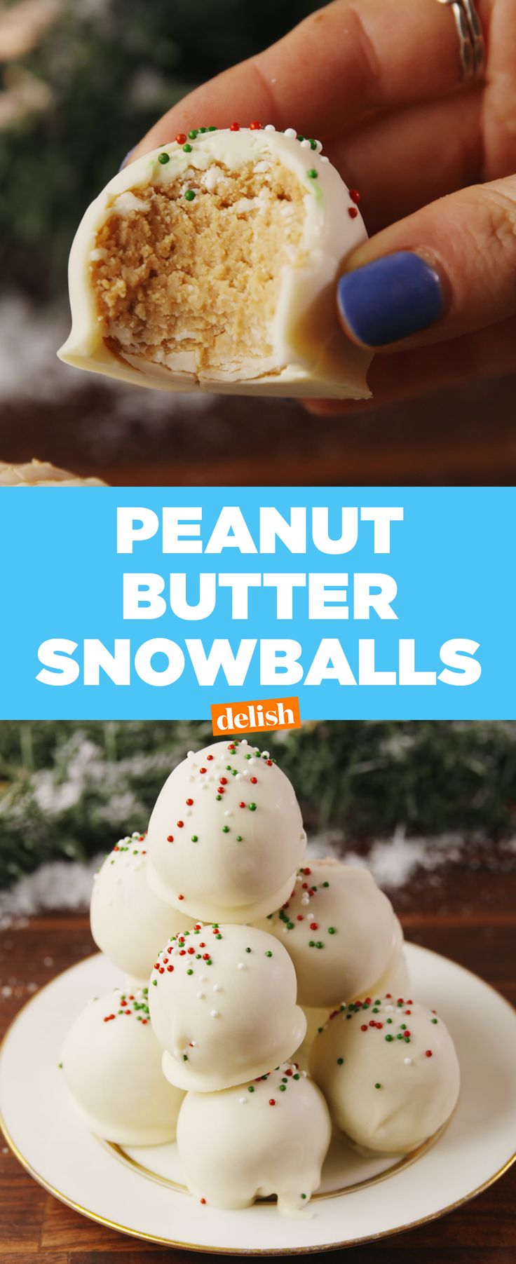Peanut Butter Snowballs are the best upgrade to your favorite Christmas cookie. Get the recipe at Delish.com. #cookie #christmas #holiday #peanutbutter #dessert #recipe #easyrecipes