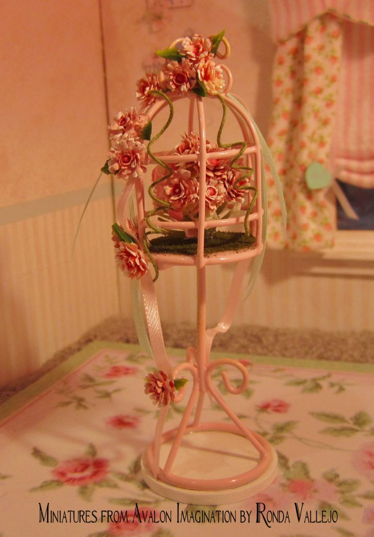 Miniature dollhouse shabby chic bird cage decorative accessory in