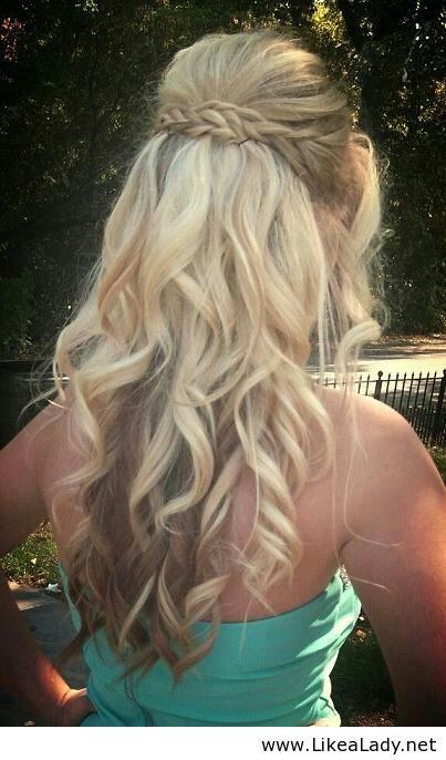 Braid half up half down updo, prom / wedding hair