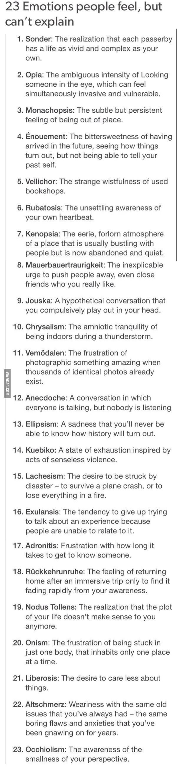 23 emotions people feel but can't explain