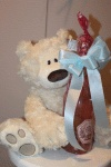 Sophia champagne and cuddly Gund bear. 262-242-3732 Champagne $20 Bear selection price varies
