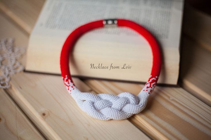Josephine Knot Red White necklace Beadwork by NecklaceFromLviv