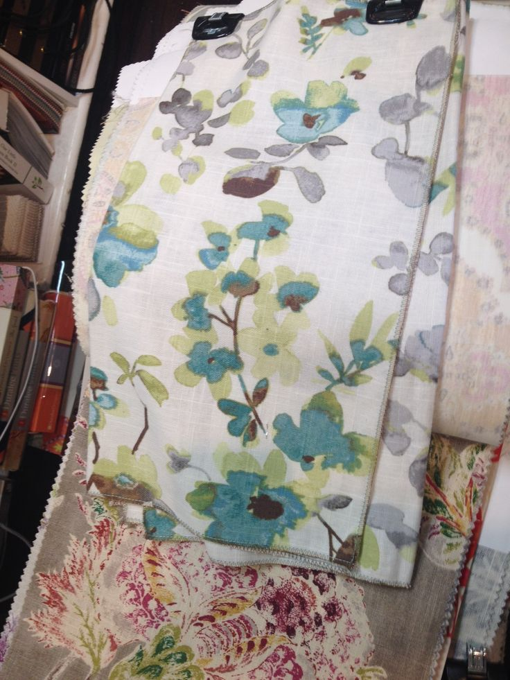 Springy floral watercolour, Aqua Cloud - Vern Yip Fabric Collection  Mystical and earthy, Millie Mushroom Fabric - P. Kaufmann  I LOVE these fabrics!