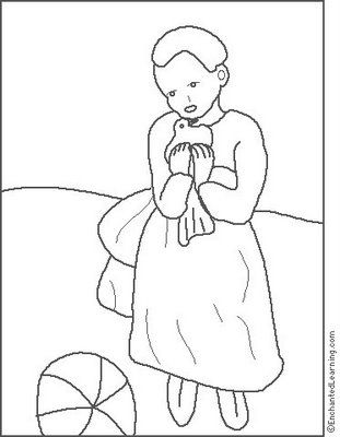 picasso child with dove coloring page