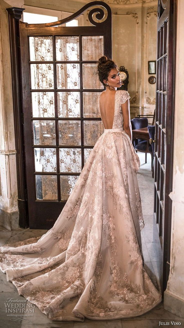 julie vino fall 2018 havana cap sleeves v neck full embellishent elegant glamorous sheath wedding dress a  line overskirt open back chapel train (18) bv -- Julie Vino Fall 2018 Wedding Dresses