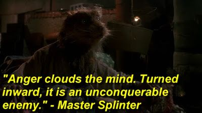 """Anger clouds the mind. Turned inward, it is an unconquerable enemy."" - Master Splinter"
