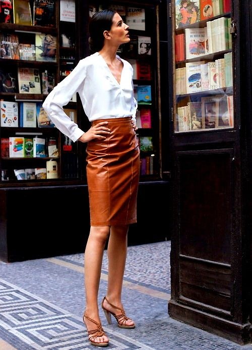 One of my favourite things I own is a black leather pencil skirt BUT I love this rust colored leather skirt... a lot!
