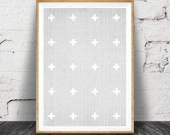 6 - geometrische print, grauen und weißen Dekor Kreuz Wandkunst, moderne minimal, Skandinavisch, Mid Century, großes Plakatkunst zu drucken.