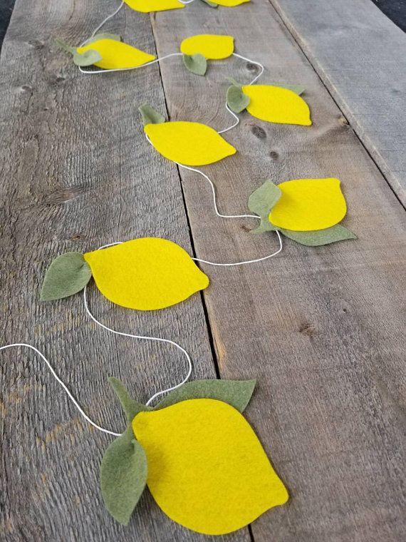Lemon Banner, Lemonade Party Decor, Lemonade Birthday, Lemon Garland, Felt Banner, Reusable, Lemon Decor, Lemonade Stand Decor