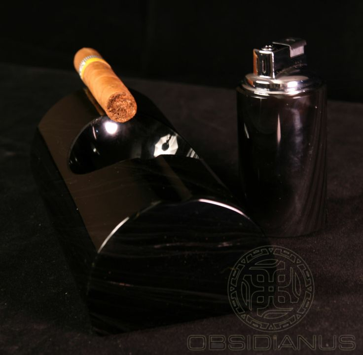 Cigar Ashtray & Lighter Hand Made / Semiprecious Natural Obsidian Stone / Black Color