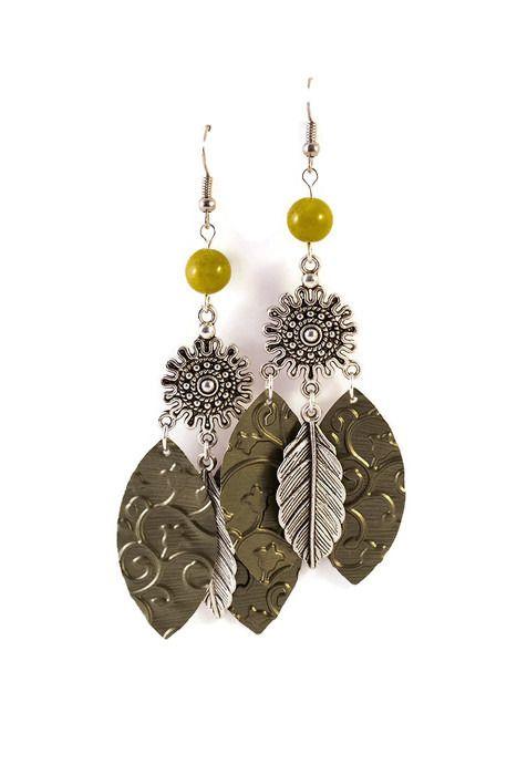 Boucles d'oreilles perles de jade - Nespresso - Aluminium et métal argenté - Longues feuilles vertes kakis - Perles de jade vert : Boucles d'oreille…