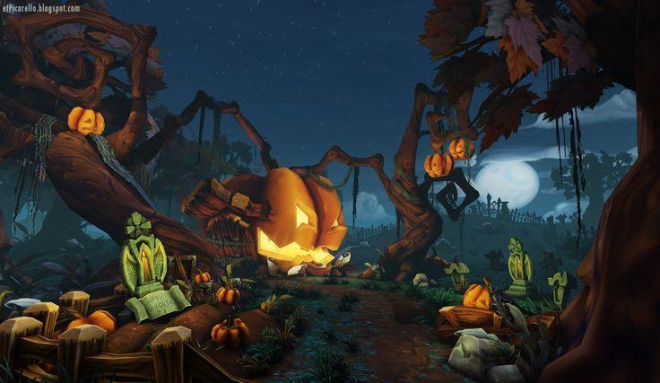 Haunted Pumpkin Graveyard, Elliot Picarello on ArtStation at https://www.artstation.com/artwork/haunted-pumpkin-graveyard