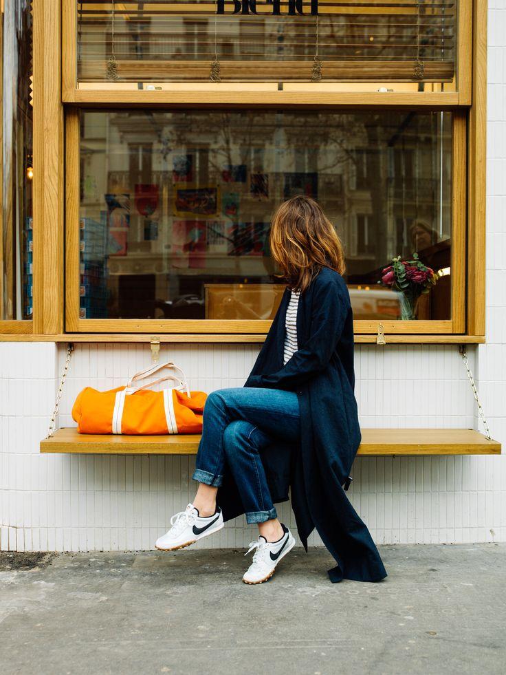 Lunchbreak at Blend's    Coat by Forte Forte    Current Elliot jeans    Nike Waffle Racer ( online )    Gym bag by Coopérative de Création