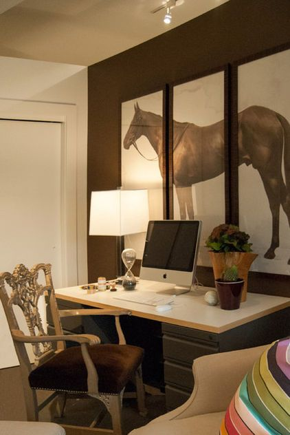 Equestrian Inspiration!   For the work area in the office, a luscious brown from Ralph Lauren Paints was used. A massive triptych of a horse hangs above the desk, paired with a custom Hickory Armchair by Thomas OBrien.