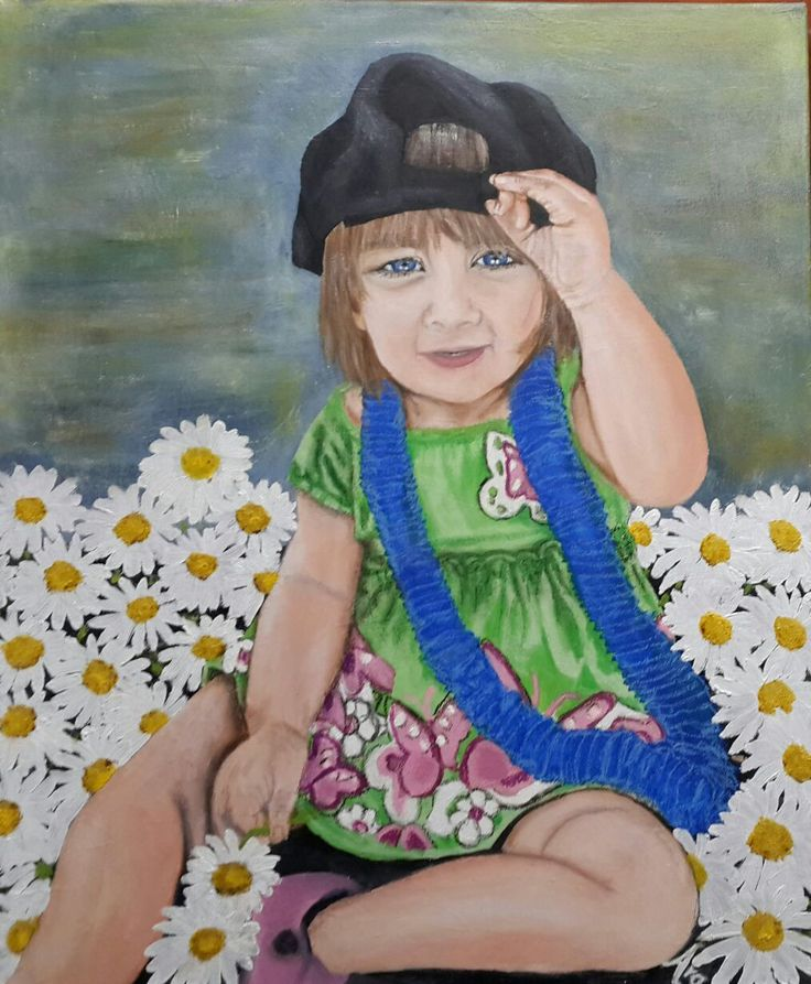 My Firenymph - Mixed Media (Oil & Acrylics) on canvas. Portrait of my little granddaughter, Olivia.
