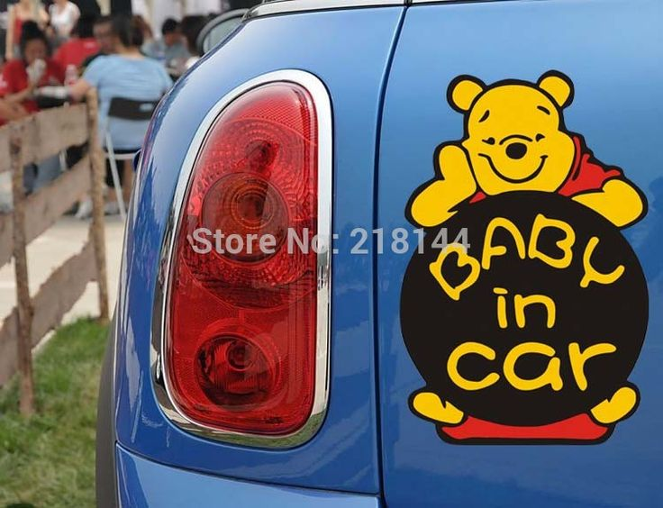 Baby in car sticker winnie the pooh warn sign decel cute bear decals stickers on car window fashion lovely safe skin sticker