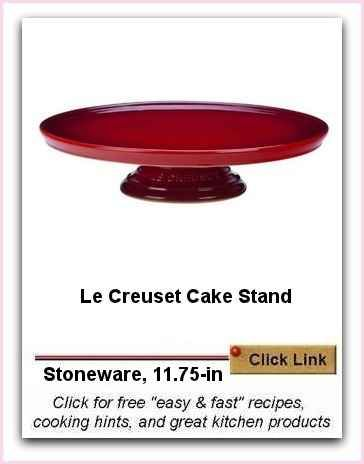Le Creuset Cake Stand | Beautiful | Cut on Surface With No Knife Damage. I love the deep rich vermillion.