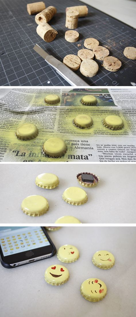 A quick and easy homemade magnet. ( You also can make a brooch.) You have to spray yellow paint on the bottle caps, paint the faces on...
